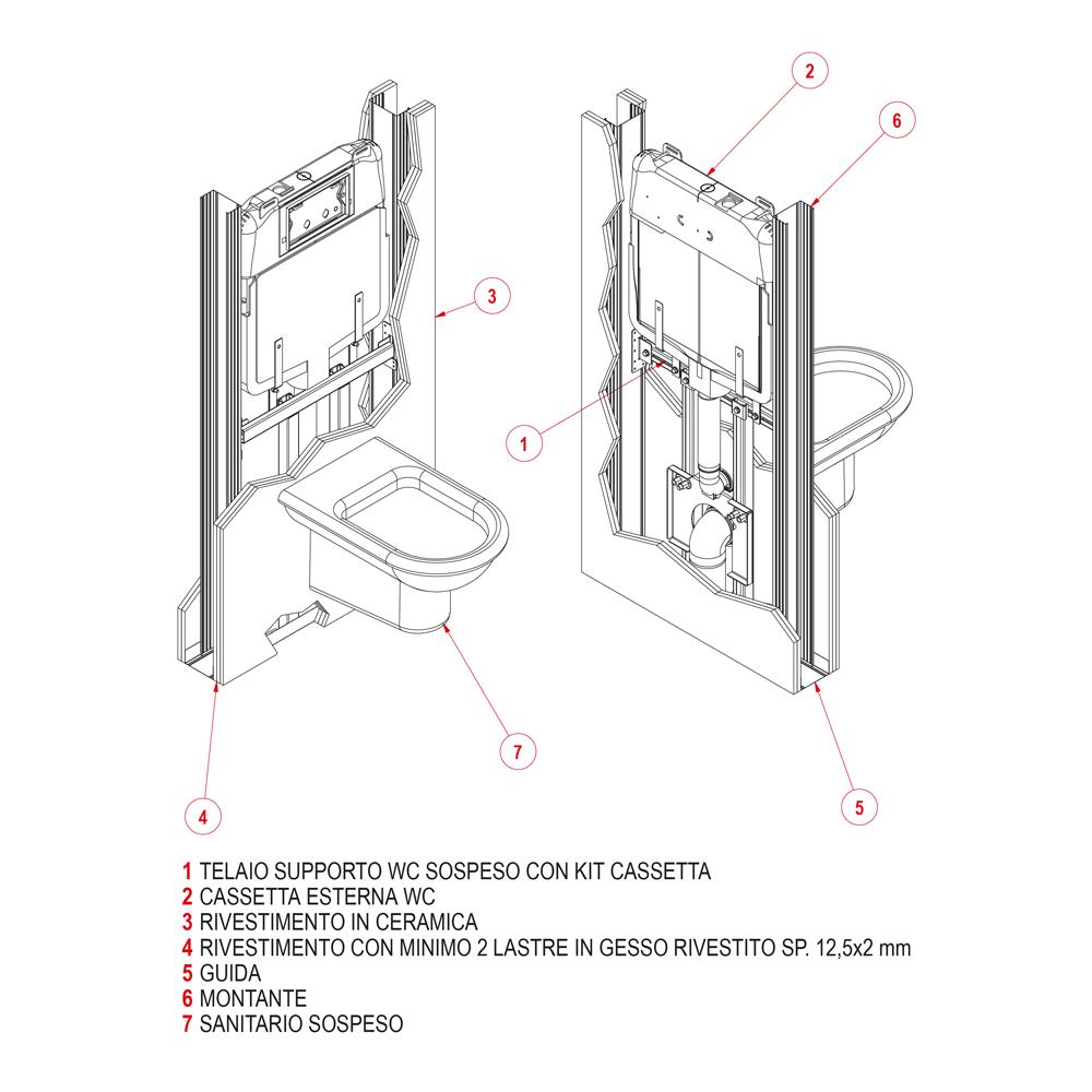Telaio supporto wc sospeso con kit cassetta