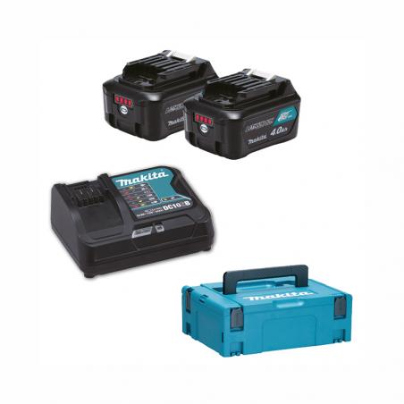 MAKITA • KIT ENERGY 2 Batterie BL1041B (4Ah) + Caricabatteria DC10SB e valigetta MAKPAC 197641-2